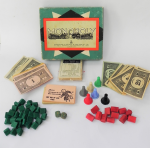 Lot 119 - Vintage John Sands, Monopoly set - green box complete set with wooden houses, money, markers etc no board