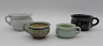 Lot 120 - 4 x Vintage Miniature Australian Pottery Chamber Pots - McHugh, Bakewells, Fowler (small chip) + another white marked WHK Brunswick to base - biggest