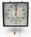Lot 125 - Vintage Celeste Dark Room Wall Timer, Square dial, seconds and minutes, stop watch pull cords, side switches, needs wiring, untested, 21cm H, 14cm D