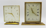 Lot 126 - Vintage Brass Cased Desk Clocks 2 x pces incl Swiza 8 Day Alarm, square dial, bevelled glass, 7 jewels Swiss movement, key missing, needs service 14cm