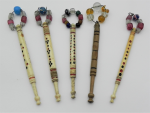 Lot 131 - 6 x antique lace making Bobbins - bone and wood - two named