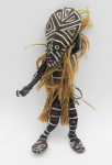 Lot 145 - PNG wooden tribal figure - hand decorated with natural fibred and ochre - 19cms H