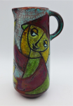 Lot 146 - Mid Century Modern Art pottery Jug - crackle glaze with hand painted image of a girl holding birds - poss German - 17cms H