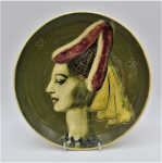 Lot 150 - Martin Boyd Australian Pottery Wall Plate - Hand painted Portrait of a Lady - signed verso , 18cm Diam