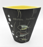 Lot 151 - Gunda Mid Century Modern Australian Pottery Vase - Enamelled stylised decoration with 3 Fish & Bubbles, souvenir from Hayman Island with text to top,