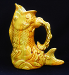Lot 159 - Vintage c1900-20s Australian Pottery Fish shaped Mint, Glug or Gurgle vase - Yellow & Green glazes, possibly Stones QLD - damage sighted chip to top &