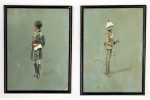 Lot 163 - Gerald Cerdic Hudson (19th Century) Pair Framed Watercolours heightened with bodycolour - Military Uniforms - both signed Cedric lower right & left, b