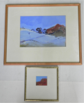 Lot 165 - Artist Unknown 2 x Framed c1990-2000s Gouache paintings - Mountain Landscapes - 1 signed but illegible, lower left - frame sizes 48x59cm & 25x25cm
