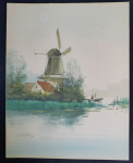 Lot 167 - Artist Unknown c1930s Unframed watercolour - River scene with Windmill & Figure in Boat - Signed lower left but illegible, 25x19cm