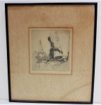 Lot 168 - Fred C Britton (1889-1931) Framed Etching - The Ships - Signed, dated 1923, titled & numbered 18-45, in Pencil on margin - frame size 42x37xm Image si