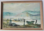 Lot 174 - Gunnar Neeme (1918-2005) Large framed Oil painting - Lake scene with Figures & Boats, possibly Lake Eildon - Signed lower left - frame size 70x100cm