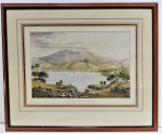 Lot 175 - Eugene Von Guerard (1811-1901) Framed Colour Lithograph - Hobart Town - signed in image or plate, printed late 19th C, cut mount exposing title under