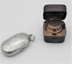Lot 178 - 2 x items - Sterling silver double Sovereign Case (hallmarked Bham 1901 TW30 grms)) & leather - gilt square travelling Inkwell