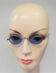 Lot 184 - Pair Vintage c1900-20s Sunglasses - Rounded Blue tint Lenses, thin metal frame, no brand sighted, in case