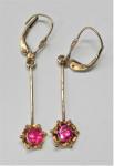 Lot 192 - Pair of 9ct gold RUBY drop earrings - rubies approx 0 7 ct each - TW approx 2 grms marked 375