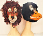 Lot 16 - 2 x Vintage 1980s Rubber Animal Masks - Lion & Duck - both in VGC, no branding, possibly Cesar