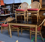 Lot 23 - Mid century modern Cane & Rattan 7 piece Dining Suite - labels to backs of chairs read John Best's Phillipino Paradise Imported Furniture - 3 x chairs