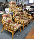 Lot 24 - Mid century Cane 5 piece Lounge Suite - 2 seater couch & 3 x arm chairs - all original upholstery etc, some staining & wear sighted