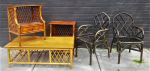 Lot 25 - Vintage Cane Furniture incl Coffee Table 43cm H 122cm L, Pair of Dining Chairs by Y M Jack & Co Sydney, no cushions - one a-f and Pair of bedside tabl