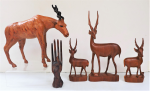 Lot 28 - Group Lot of Carved Wood Figures incl Teak Mid-Century Stylised Deers Collection 31cm H, Leather Wrapped Antelope and Ebony ring holder