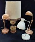 Lot 30 - Group Lot of Retro and Industrial Style Lamps - 4 pces incl ceramic base table lamp 76cm H and assorted adjustable desk lamps