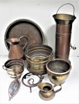 Lot 31 - Group Lot of Vintage Copper, Brass and Iron incl Large Persian engraved Tray 45cm D, Coal Bucket and Scuttle, Copper Ewer, hand forged Trivet, Planter