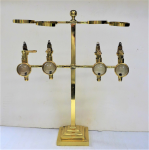 Lot 33 - Antique Style Gaskell & Chambers Solid Brass Four Bottles Liquor Dispenser, with Optic Pearl Measures, corks - 58cm H