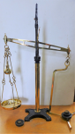Lot 34 - W&T Avery Beam Scales, Brass and Cast Iron, stamped Class C, with Set of 6 weights - 86cm H