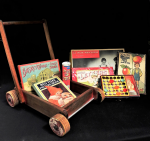 Lot 36 - Vintage Child Wooden Walker Pusher and Contents incl Vintage Games - Chad Valley, Box of Letters, Bavaria Stick Building, La Peche Miraculeuse by Joue