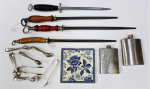 Lot 52 - Mixed Group lot inc Victorian Blue & White tile, EPNS Sugar tongs inc Apostle, Bird Claw, 4 x Sharpening steels inc horn handled & 2 x Stainless steel