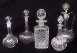 Lot 58 - 5 x Vintage Crystal decanters various sizes all with stoppers 31cm to 22cm H