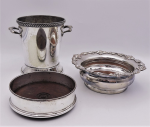 Lot 63 - 3 x Silverplate inc Small Wine Cooler  Ice bucket , 2 x bottle holders with timber bases