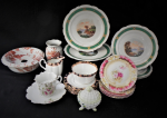 Lot 64 - Group of Victorian China inc Moustache Cup & Saucer, Bathroom Bowl, Pedestal Cake Plate with matching plates, hand painted plates etc