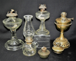 Lot 65 - Group lot - Vintage Oil Lamps - Brass, Glass, etc - various sizes & makers