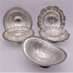 Lot 73 - 5 x English silver plate made for WDrummond & Co  & Hardy Brothers footed Small bowls - all with etched interior pattern