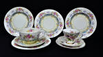 Lot 74 - Group lot Vintage English China inc Royal Doulton Passion Flower Trio & 1940's Royal Worcester Breakfast set with extra plates - June pattern