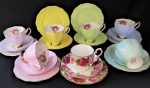 Lot 76 - Group lot English China Trios inc Queen Anne Harlequin set of 6 & Royal Albert Old English Rose