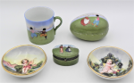 Lot 80 - Small lot - Vintage Continental China - 3 x pieces unmarked German Porcelain featuring children playing, cup with lithophane image of girl leaning thr
