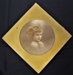 Lot 84 - Vintage mounted c1920s Thelma Duryea Hand coloured Photograph - Portrait of a Child - Original label verso & signed under mount - diamond shaped mount