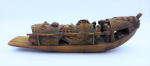 Lot 89 - Vintage Chinese Carved Bamboo Boat, finely detailed fishermen and draped fishing nets - 25cm L
