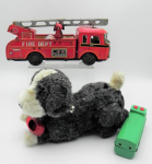 Lot 94 - 2 x Vintage Japanese Toys - batt Op RControl Dog with Shoe in Mouth + tiny toy Fire Engine made by Yone