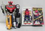 Lot 99 - 2 x Space Robot Toys - Vintage Boxed Horikawa Japanese made batt Op plastic Galaxy Super Mechanic Fighter (head lights up only) + Mighty Morphin Power