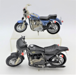 Lot 101 - 2 x 1-15 Scale Model Diecast Harley Davidson Motor Cycles inc Black Cafe Racer XLCR 1000 &  Blue Sportster both by Matchbox