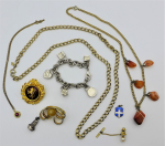 Lot 109 - Group lot jewellery - Tiffany style charm bracelet some pces marked 925, Silver Mermaid & enamel shield charms, Sporrong red Lion brooch, gilt chain,