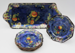Lot 121 - c1920's Grimwades Byzanta Ware lustre Sandwich set  incl Sandwich tray and matching 6 small 8 sided plates