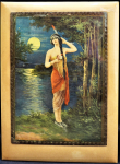 Lot 125 - Vintage c1930s Padded print featuring a Native American Indian Maiden - stand to back, 29x21cm