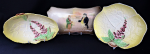 Lot 132 - 3 x Vintage English China inc  Royal Doulton Tray - Mr Toots  & Captain Cuttle D5833 (with restoration) 18cm L & 2 x Carltonware yellow Foxglove patte
