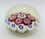 Lot 136 - Millefiori Paperweight  clear with white, blue & red 6cm D