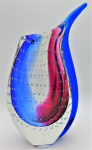 Lot 139 - Murano Sommerso Art Glass Beak Vase - Clear, Blue & deep pink with controlled bubbles 25cm H
