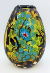 Lot 140 - Art Glass Vase white inclusion with Millefiori & black abstract with black rim - ground base 19cm H